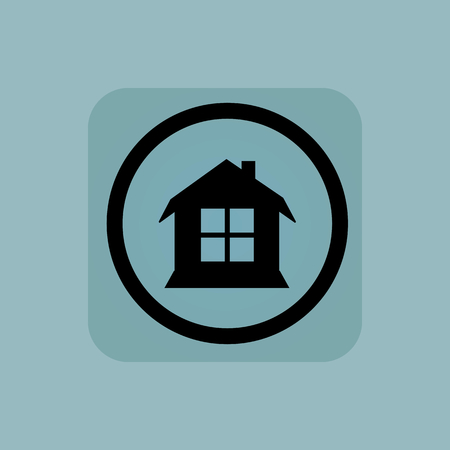 housetop: House with window in circle, in square, on pale blue background