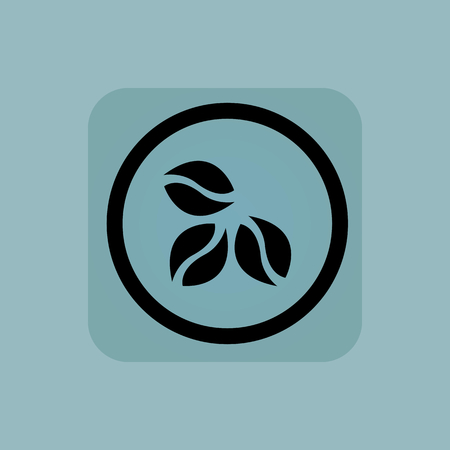 Three coffee beans in circle, in square, on pale blue background Illustration