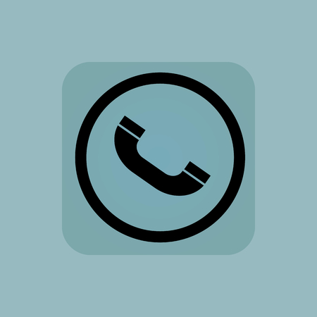 phone receiver: Phone receiver in circle, in square, on pale blue background