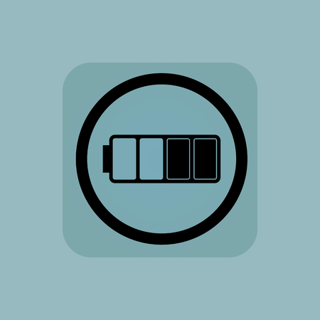 half full: Half full battery in circle, in square, on pale blue background Illustration