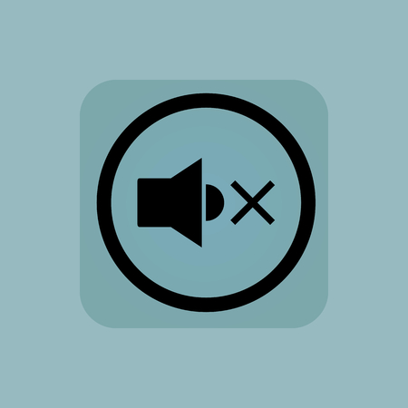 muted: Muted loudspeaker in circle, in square, on pale blue background