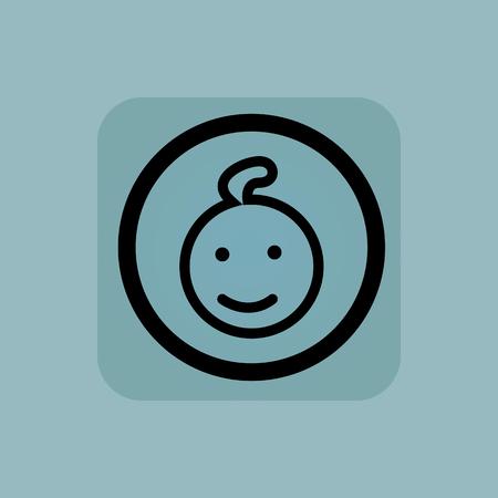 enfant qui sourit: Sourire visage de l'enfant dans le cercle, en carr�, sur fond bleu p�le