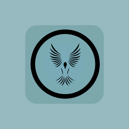 span: Flying bird in circle, in square, on pale blue background Illustration