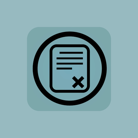 Document page with cross in circle, in square, on pale blue background Ilustrace