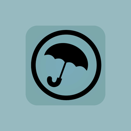 cloudburst: Open umbrella in circle, in square, on pale blue background