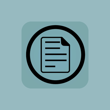 article writing: Document page in circle, in square, on pale blue background Illustration
