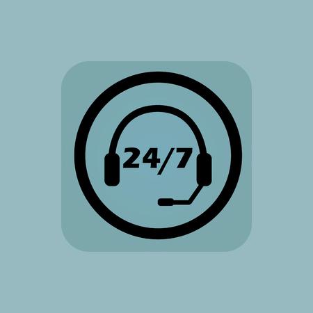 7 円、正方形、淡青色の背景に、24 テキストでヘッドセット  イラスト・ベクター素材