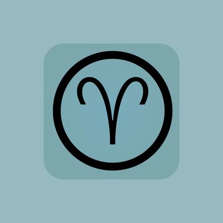 aries zodiac: Aries zodiac symbol in circle, in square, on pale blue background
