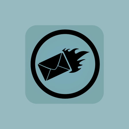 meaningful: Burning envelope in circle, in square, on pale blue background