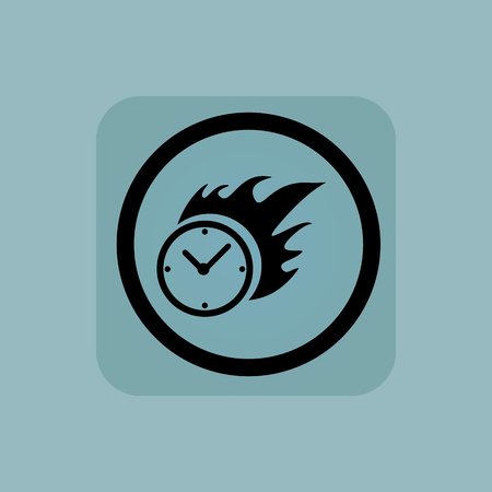 bounds: Burning clock in circle, in square, on pale blue background