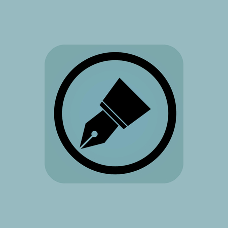 nib: Ink pen nib in circle, in square, on pale blue background Illustration