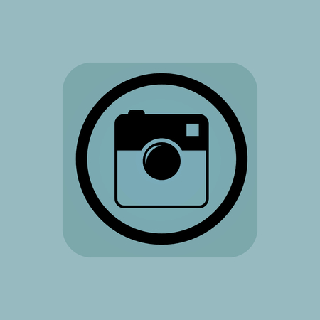 microblog: Square camera in circle, in square, on pale blue background Illustration