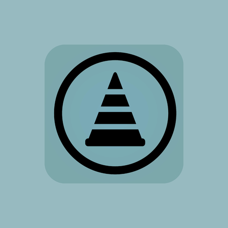 traffic pylon: Traffic cone in circle, in square, on pale blue background Illustration