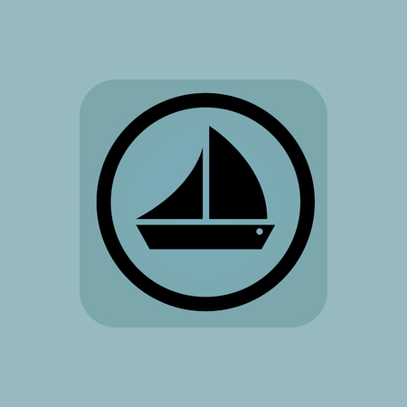 cruising: Sailing ship in circle, in square, on pale blue background Illustration