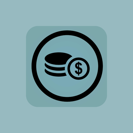 Rouleau of dollar coins in circle, in square, on pale blue background Illustration