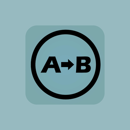 derivation: Letters A, B and arrow in circle, in square, on pale blue background