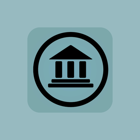 pillars: Classical building with pillars in circle, in square, on pale blue background