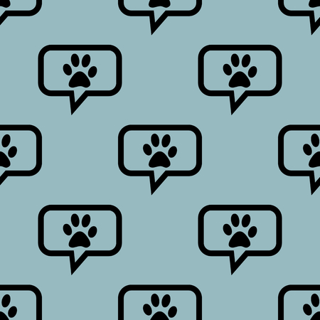 track pad: Image of paw print in chat bubble, repeated on pale blue background Illustration