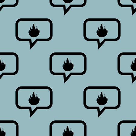 blue flame: Image of flame in chat bubble, repeated on pale blue background Illustration