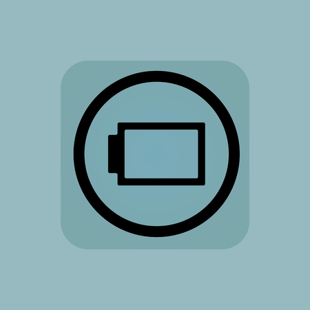 fully: Fully discharged battery in circle, in square, on pale blue background Illustration