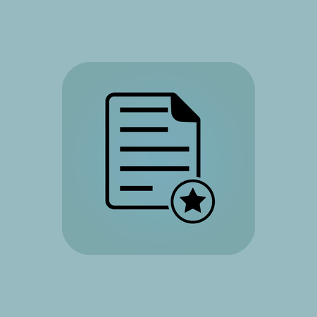 article writing: Document page and star in circle, in square, on pale blue background