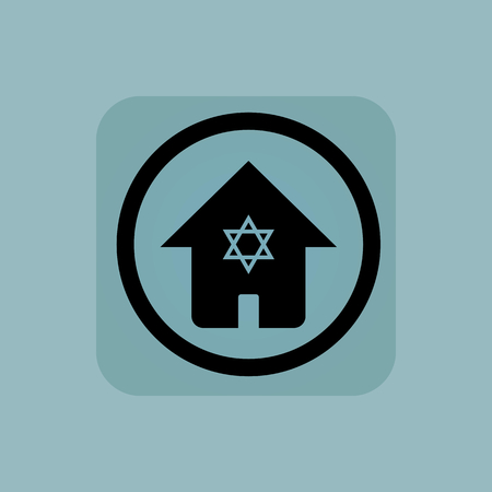 jewish home: House with Star of David in circle, in square, on pale blue background