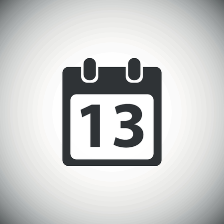 number 13: Black calendar page with number 13, on white background