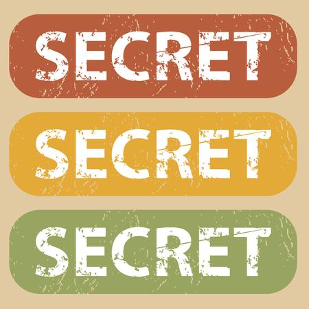 secret word: Set of rubber stamps with word SECRET on colored background Illustration