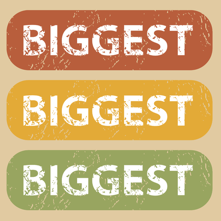 biggest: Set of rubber stamps with word BIGGEST on colored background