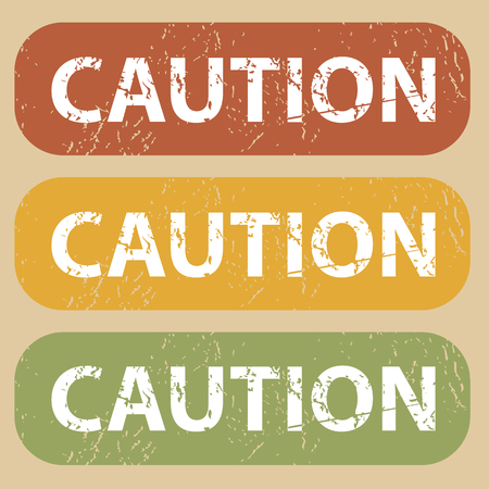 archive site: Set of rubber stamps with word CAUTION on colored background Illustration