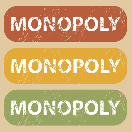 monopoly: Set of rubber stamps with word MONOPOLY on colored background