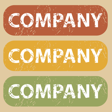 Set of rubber stamps with word COMPANY on colored background