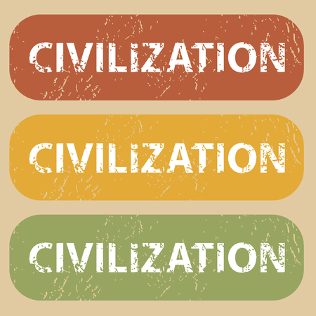 civilization: Set of rubber stamps with word CIVILIZATION on colored background Illustration