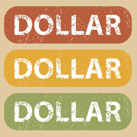 archive site: Set of rubber stamps with word DOLLAR on colored background Illustration