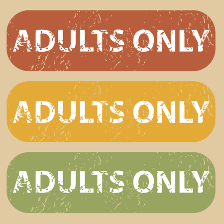 adults only: Set of rubber stamps with words ADULTS ONLY on colored background