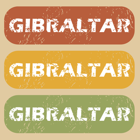 gibraltar: Set of rubber stamps with country name Gibraltar on colored background Illustration