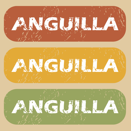 anguilla: Set of rubber stamps with country name Anguilla on colored background