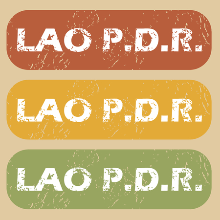 lao: Set of rubber stamps with country name Lao PDR on colored background