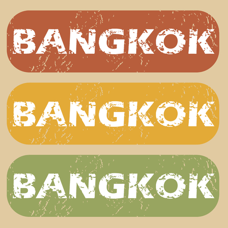 bangkok city: Set of rubber stamps with city name Bangkok on colored background Illustration