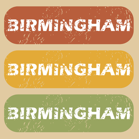 birmingham: Set of rubber stamps with city name Birmingham on colored background Illustration