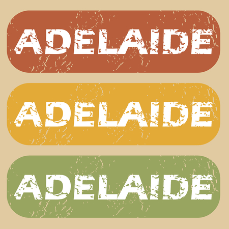 adelaide: Set of rubber stamps with city name Adelaide on colored background