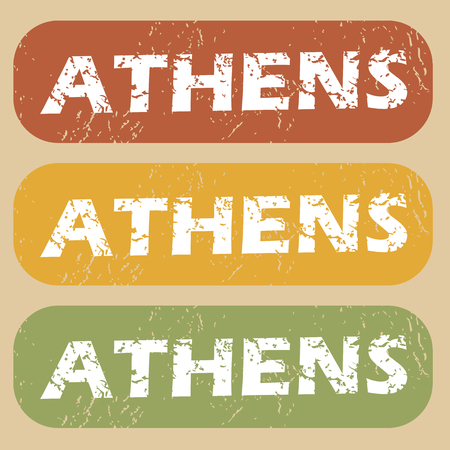 athens: Set of rubber stamps with city name Athens on colored background Illustration