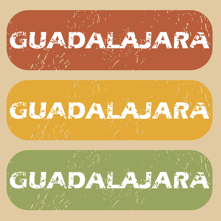 guadalajara: Set of rubber stamps with city name Guadalajara on colored background Illustration