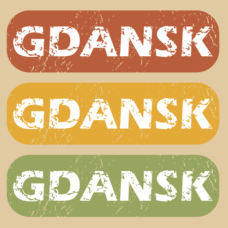 gdansk: Set of rubber stamps with city name Gdansk on colored background