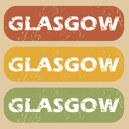 glasgow: Set of rubber stamps with city name Glasgow on colored background