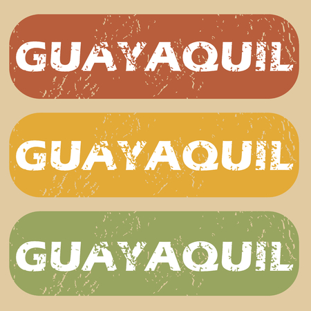 guayaquil: Set of rubber stamps with city name Guayaquil on colored background Illustration