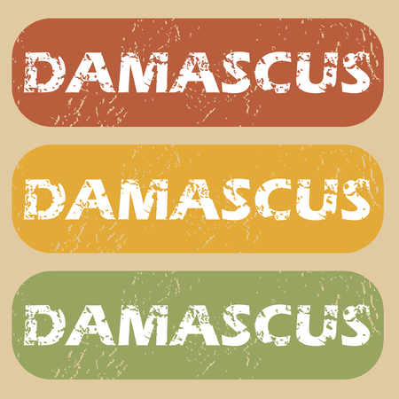 damascus: Set of rubber stamps with city name Damascus on colored background