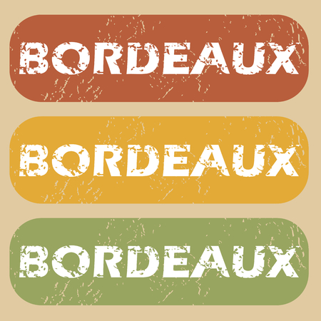 bordeaux: Set of rubber stamps with city name Bordeaux on colored background