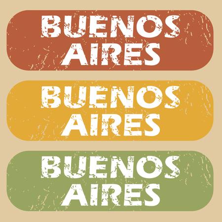 buenos aires: Set von Stempel mit den Namen der Stadt Buenos Aires auf farbigem Hintergrund