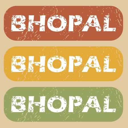 bhopal: Conjunto de sellos de goma con el nombre de la ciudad de Bhopal en el fondo de color